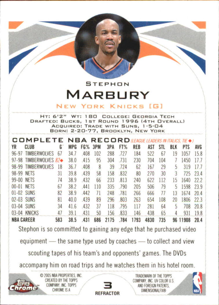 2004-05 Topps Chrome Refractors #3 Stephon Marbury back image