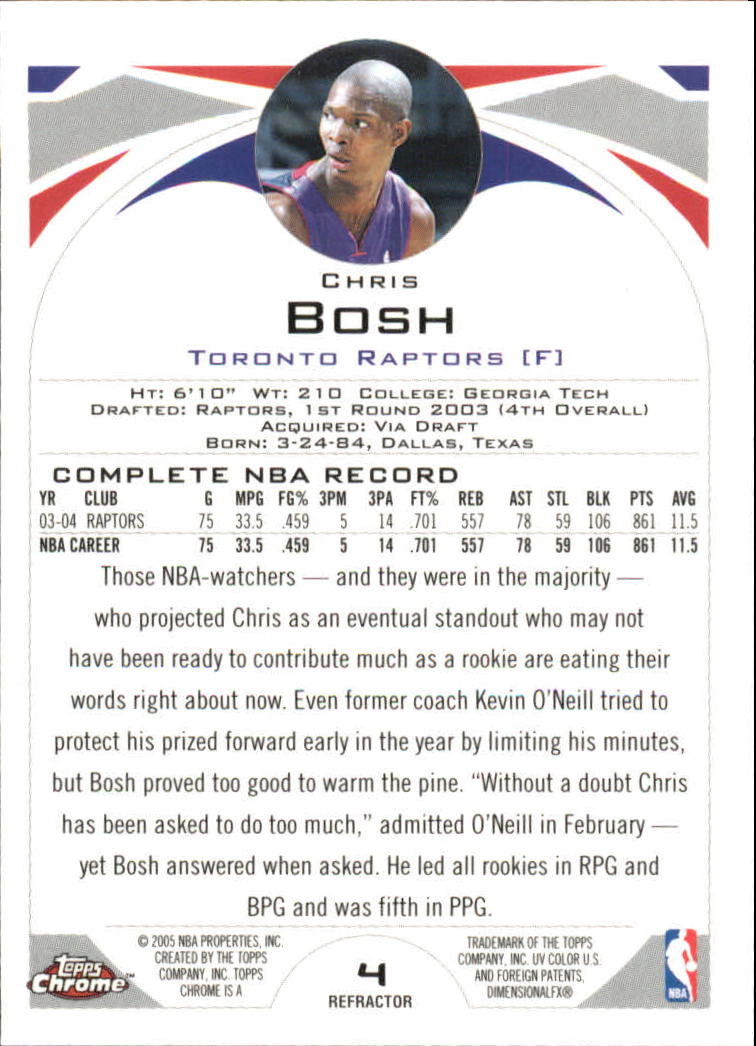 2004-05 Topps Chrome Refractors #4 Chris Bosh back image