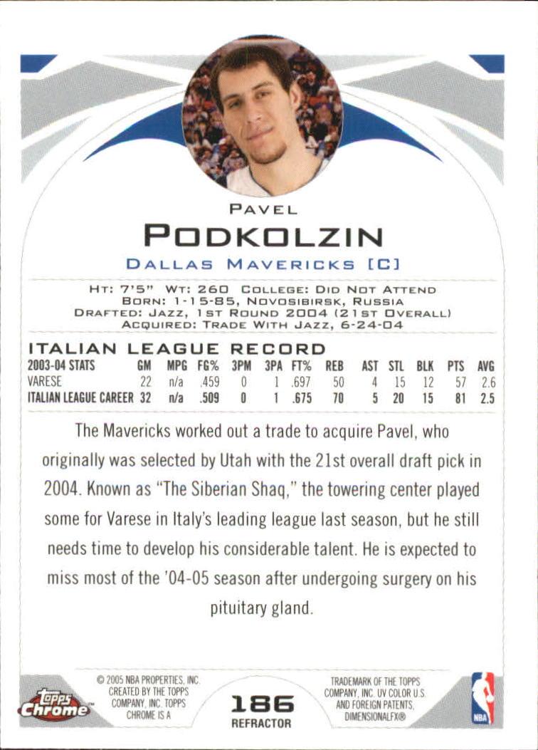2004-05 Topps Chrome Refractors #186 Pavel Podkolzin back image