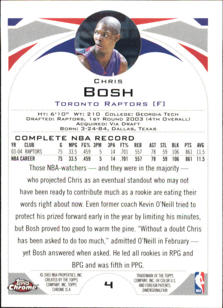 2004-05 Topps Chrome #4 Chris Bosh back image