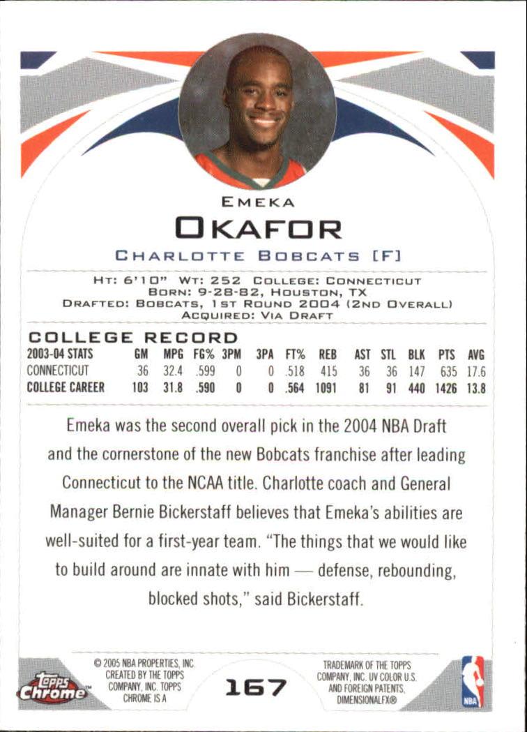 2004-05 Topps Chrome #167 Emeka Okafor RC back image