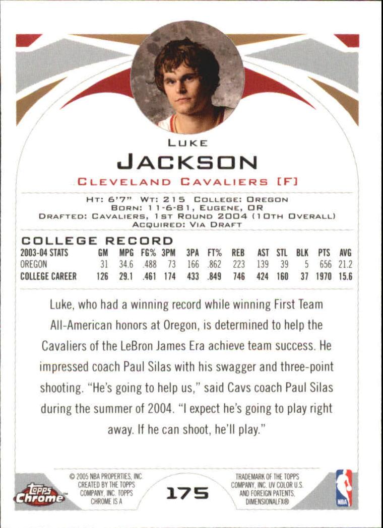 2004-05 Topps Chrome #175 Luke Jackson RC back image