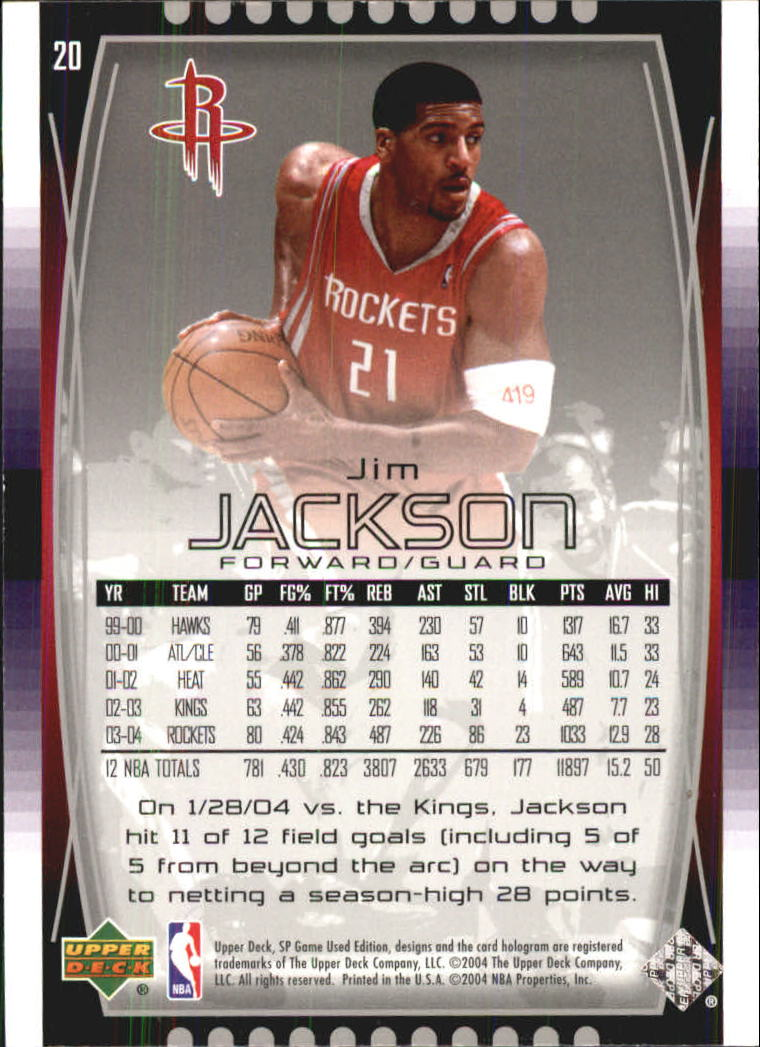 2004-05 SP Game Used #20 Jim Jackson back image