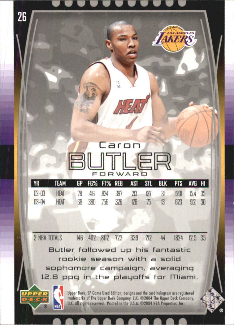 2004-05 SP Game Used #26 Caron Butler back image