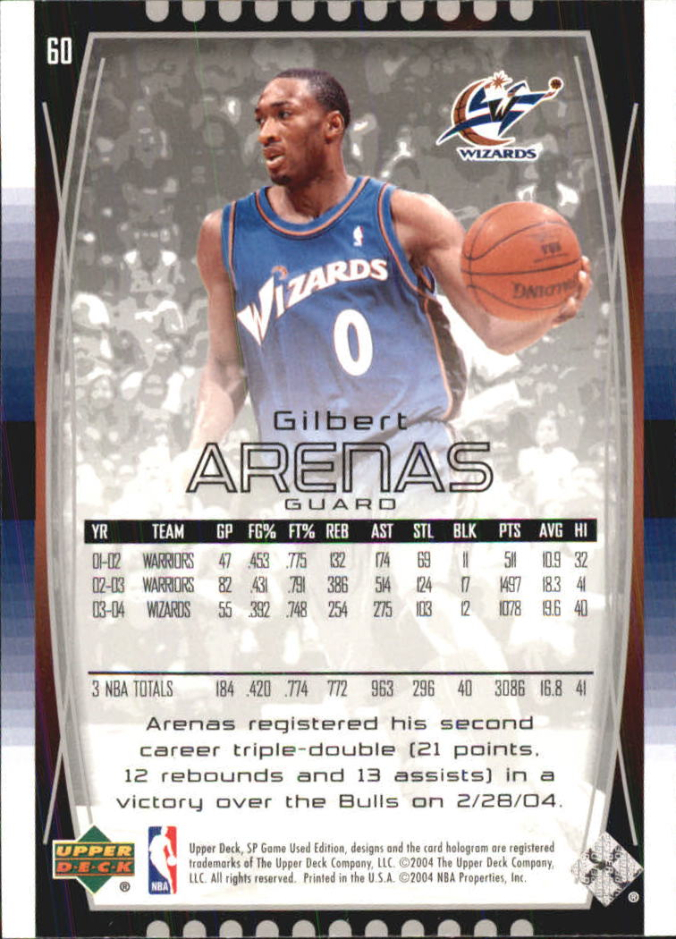 2004-05 SP Game Used #60 Gilbert Arenas back image