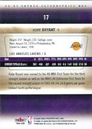 2004-05 SkyBox Autographics #17 Kobe Bryant back image