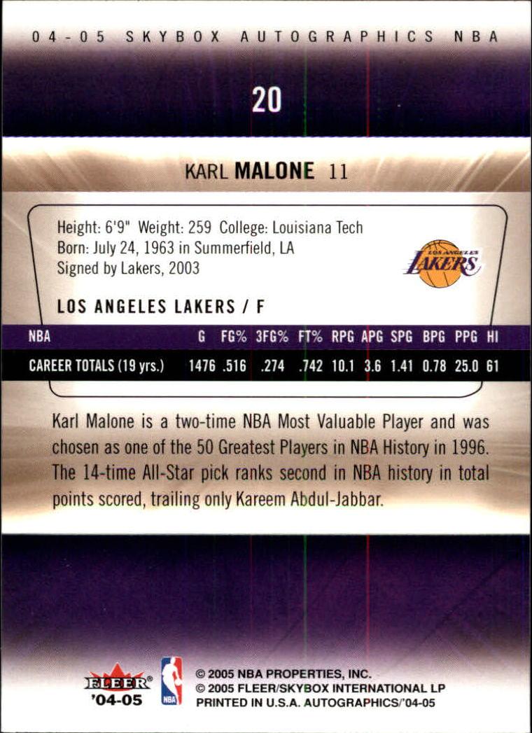 2004-05 SkyBox Autographics #20 Karl Malone back image