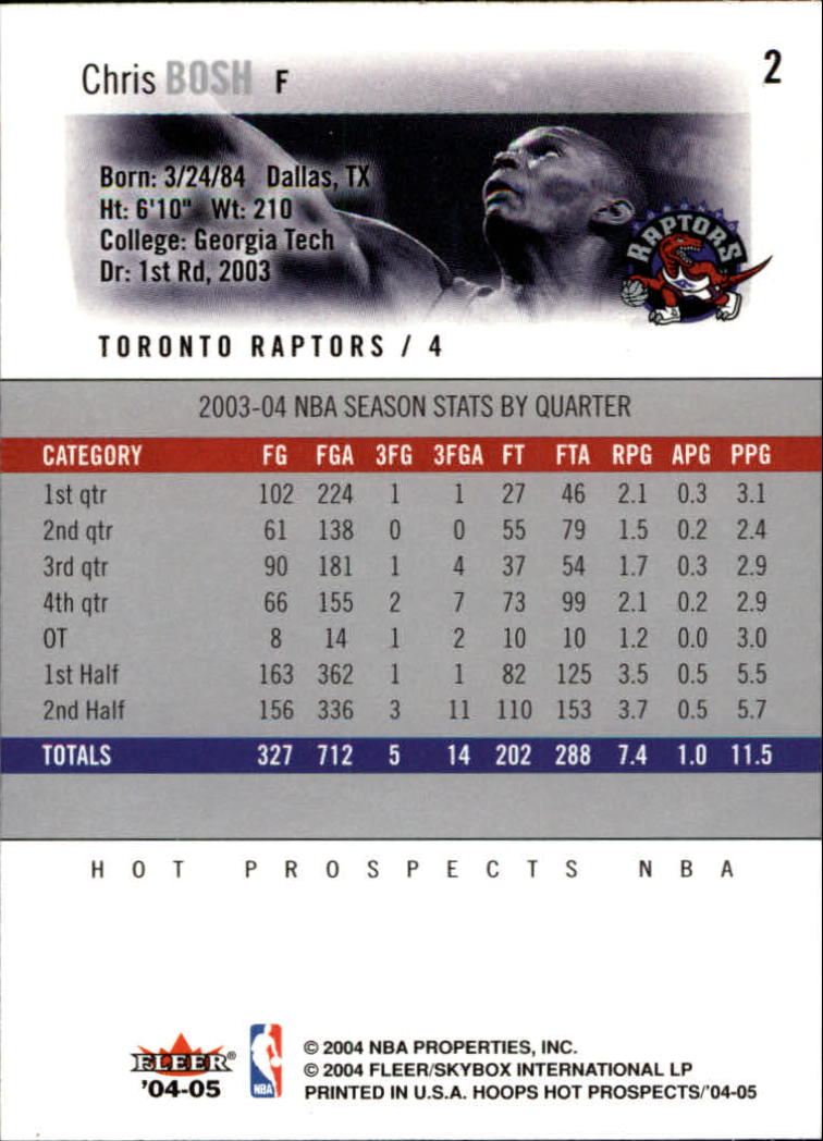 2004-05 Hoops Hot Prospects #2 Chris Bosh back image