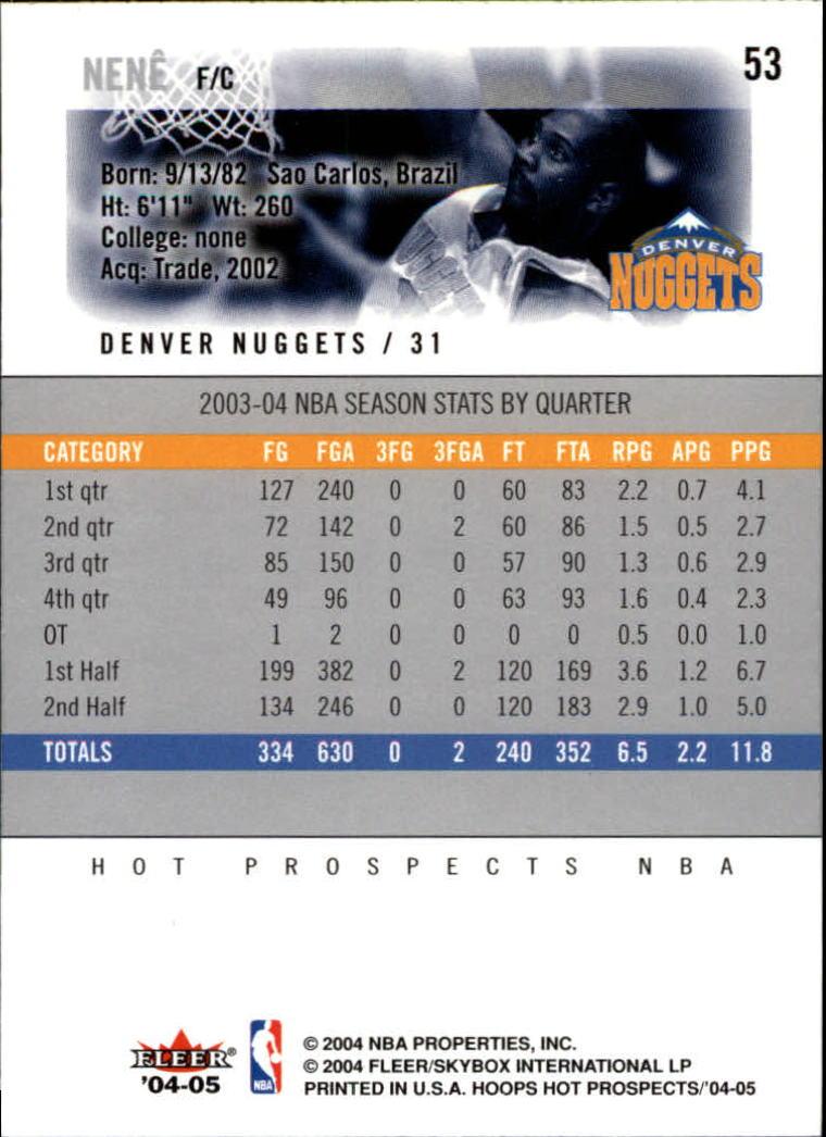 2004-05 Hoops Hot Prospects #53 Nene back image