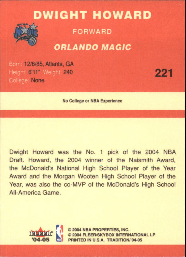 2004-05 Fleer Tradition #221 Dwight Howard RC back image