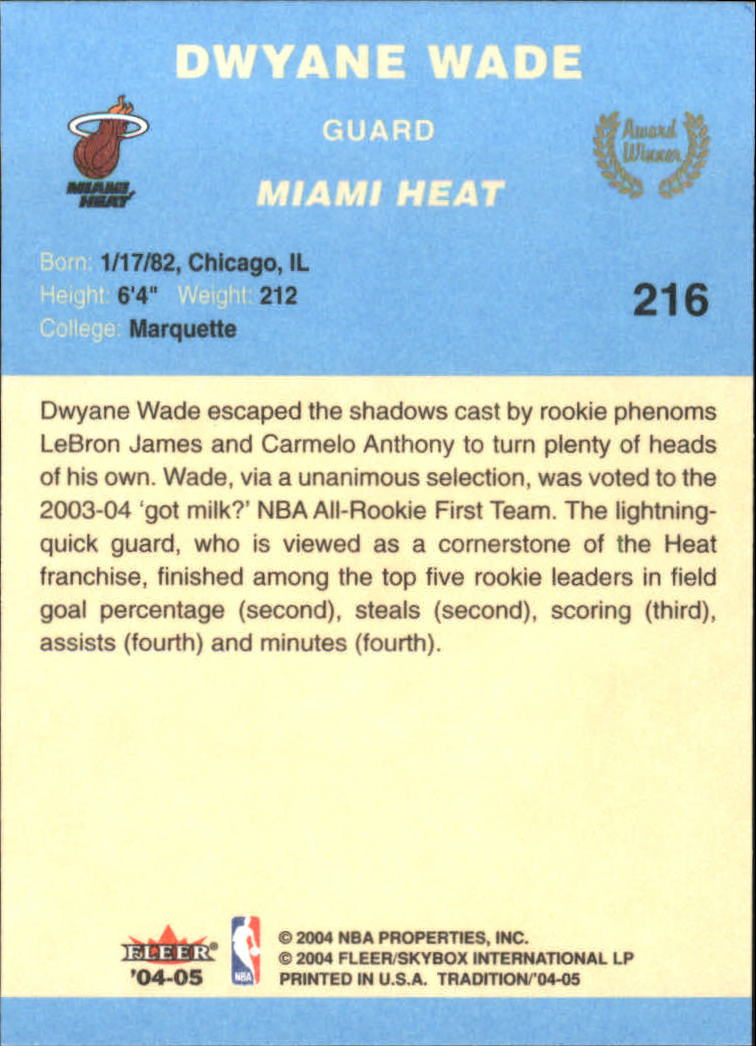 2004-05 Fleer Tradition Blue #216 Dwyane Wade AW back image