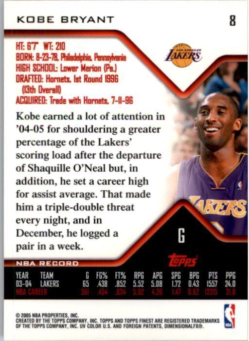 2004-05 Finest #8 Kobe Bryant back image