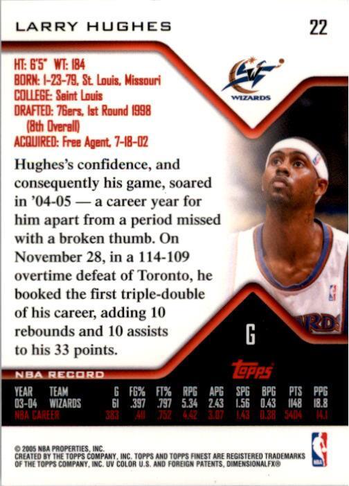 2004-05 Finest #22 Larry Hughes back image