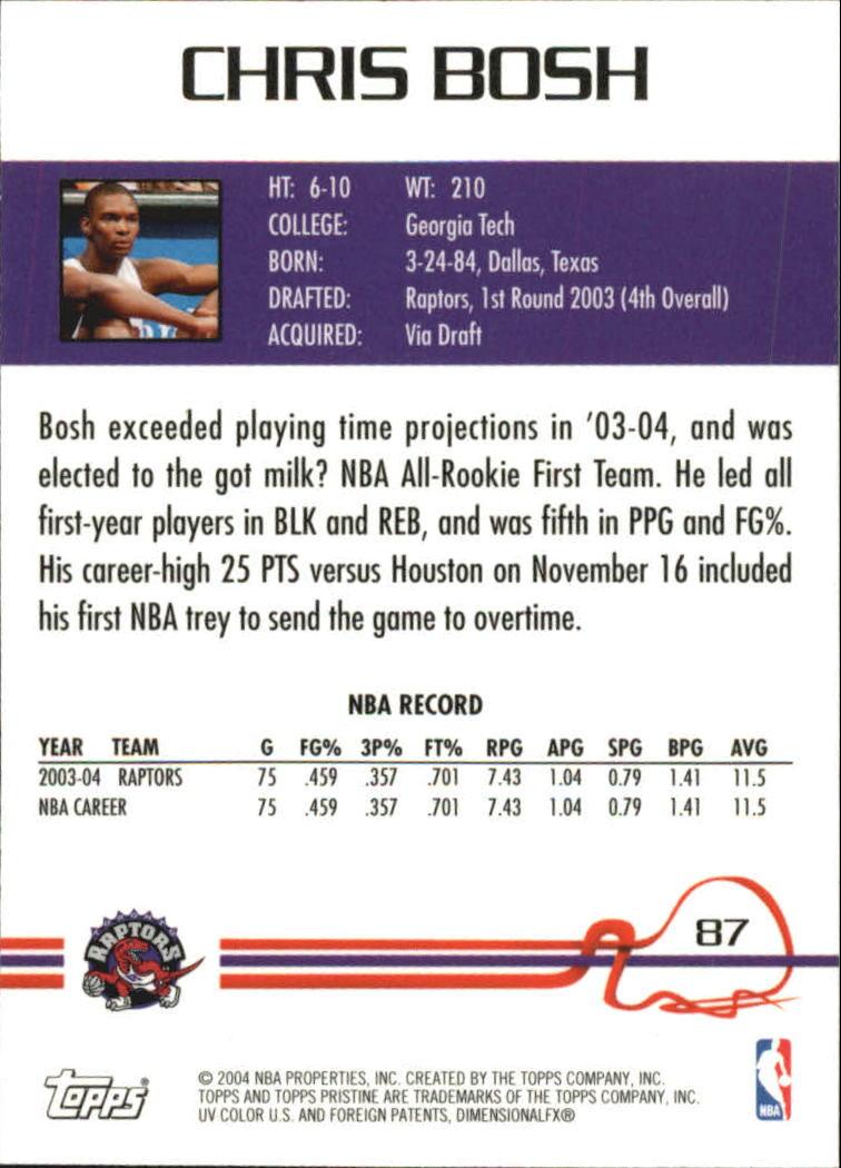 2004-05 Topps Pristine #87 Chris Bosh back image