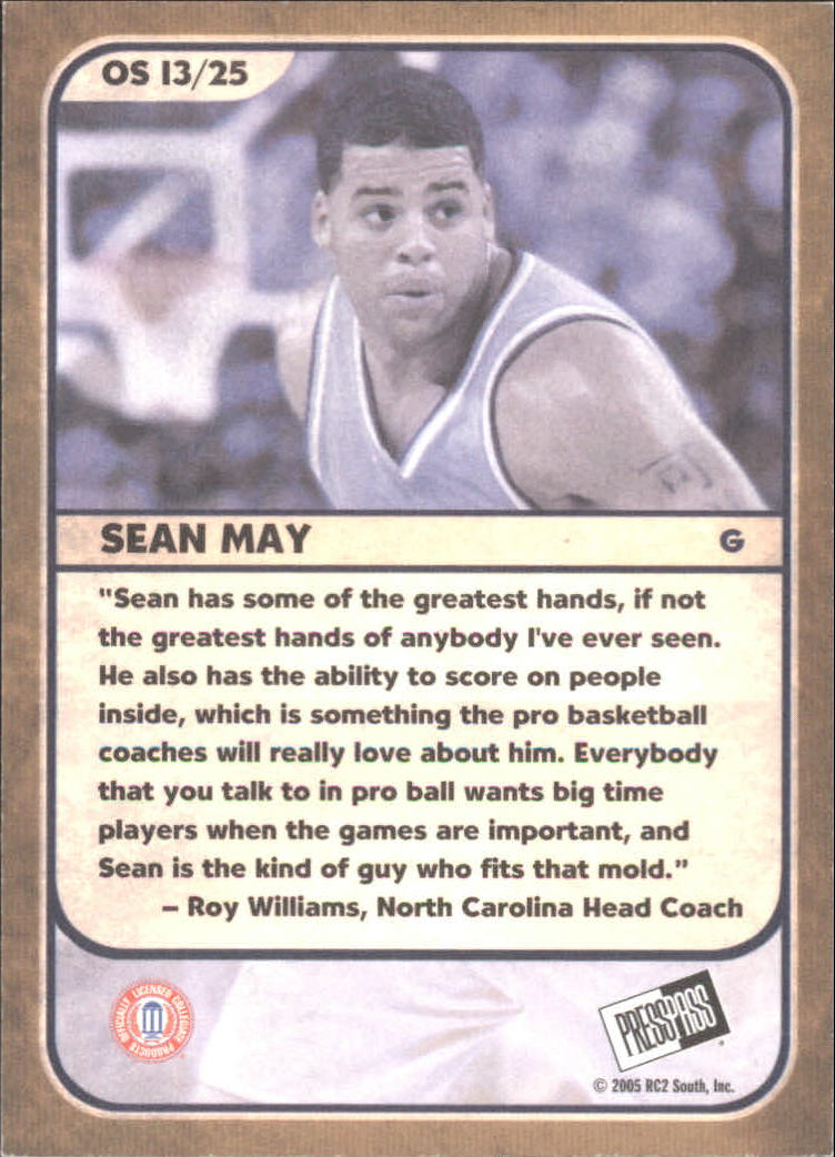 2005 Press Pass Old School #13 Sean May back image
