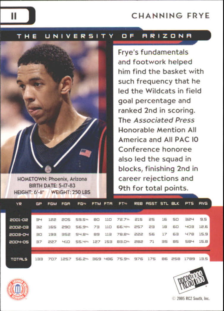2005 Press Pass #11 Channing Frye back image