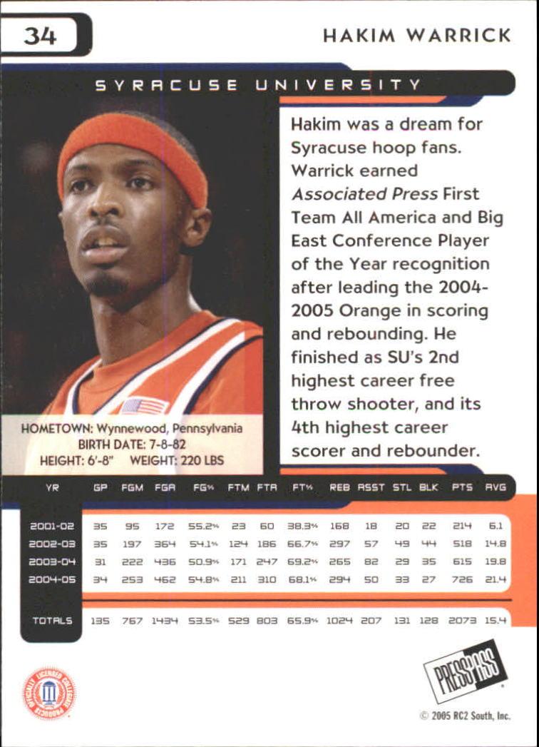 2005 Press Pass #34 Hakim Warrick back image