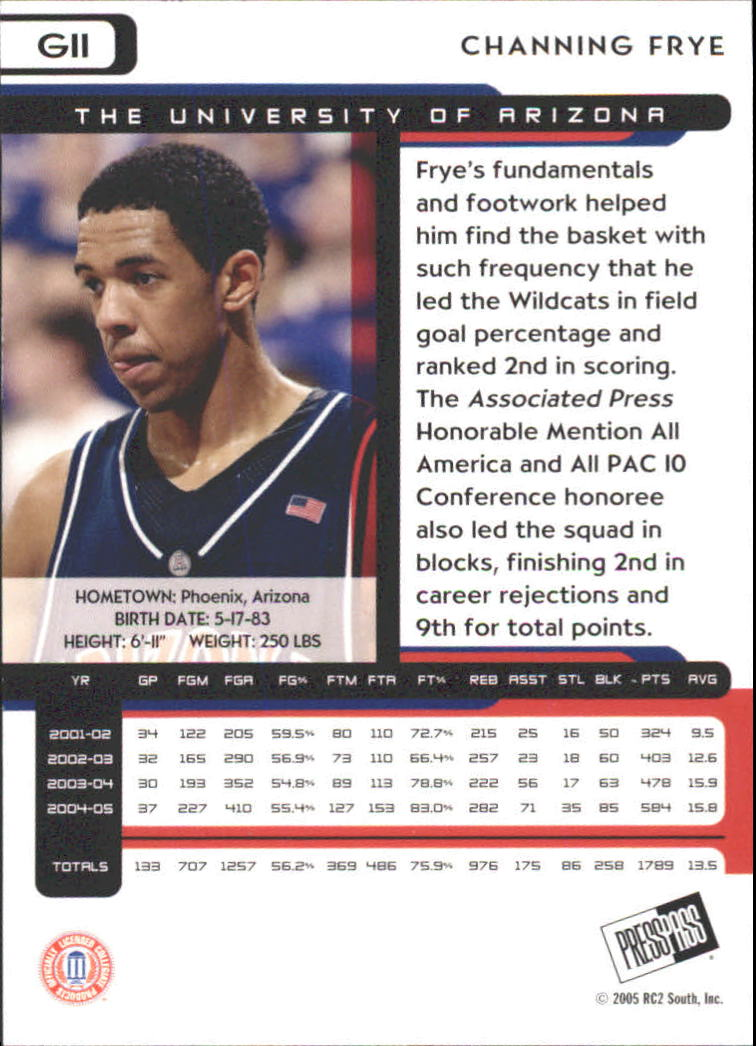 2005 Press Pass Gold #11 Channing Frye back image