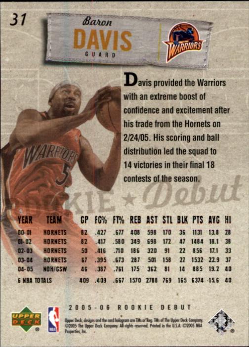 2005-06 Upper Deck Rookie Debut #31 Baron Davis back image