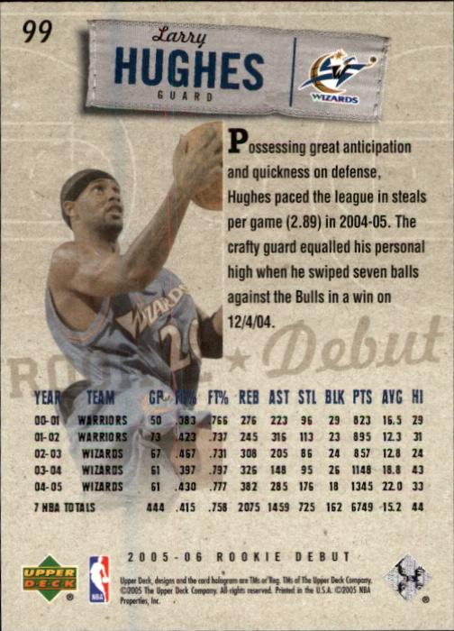 2005-06 Upper Deck Rookie Debut #99 Larry Hughes back image