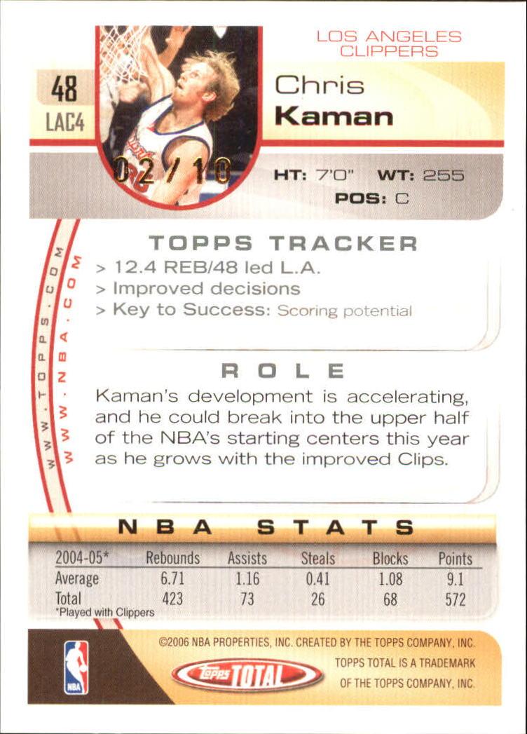 2005-06 Topps Total Gold #48 Chris Kaman back image