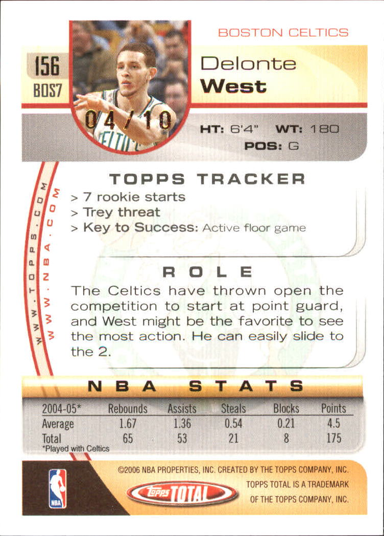 2005-06 Topps Total Gold #156 Delonte West back image
