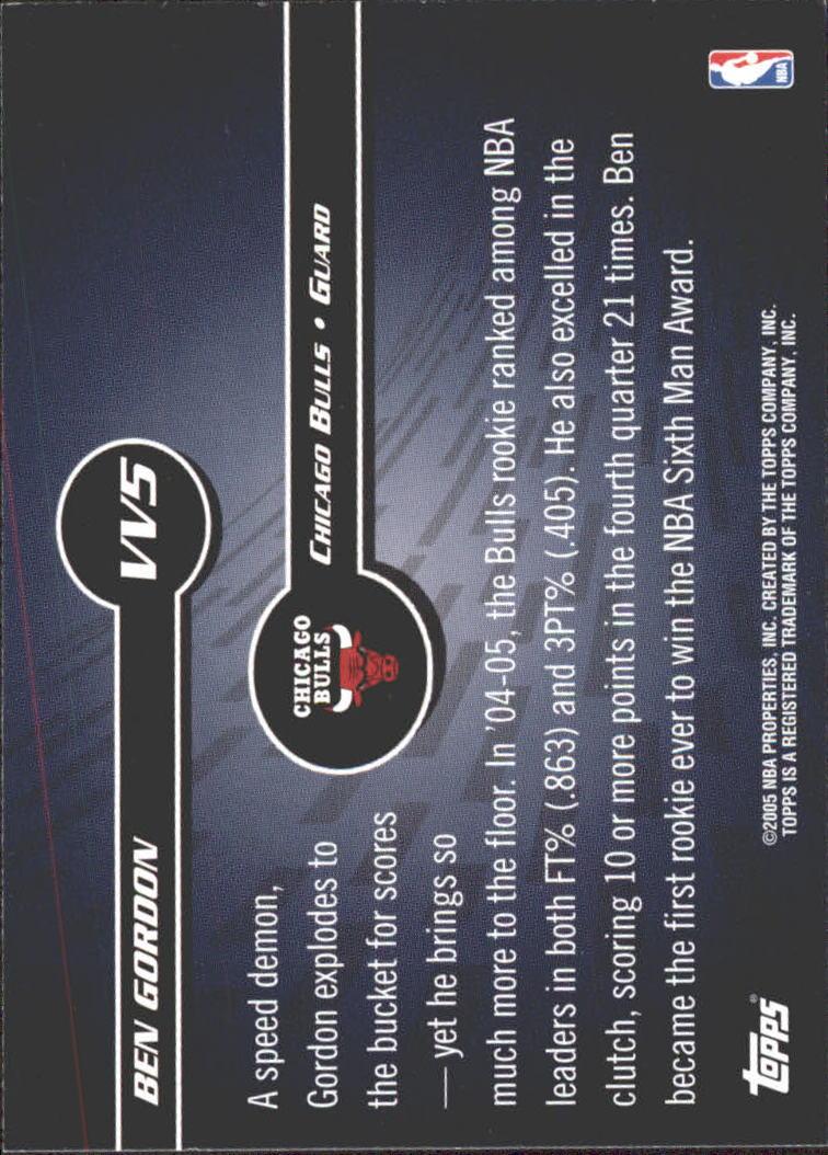 2005-06 Topps Versatile Velocity #VV5 Ben Gordon back image