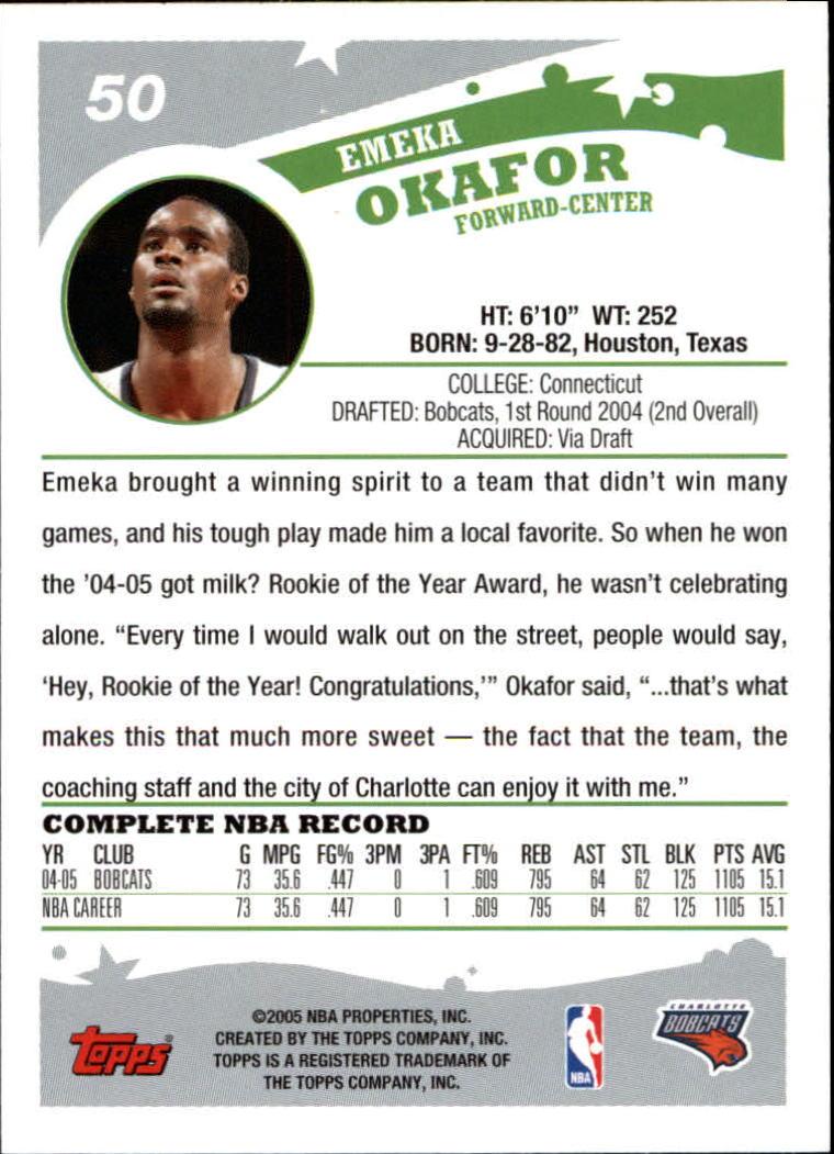 2005-06 Topps #50 Emeka Okafor back image