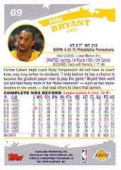 2005-06 Topps #69 Kobe Bryant back image