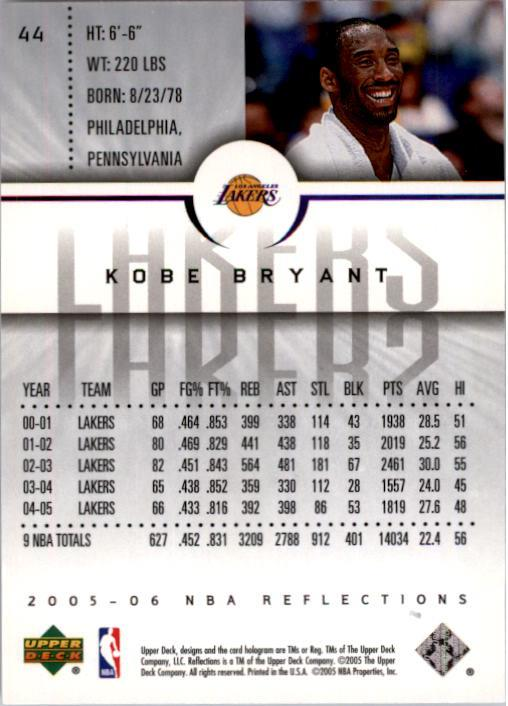 2005-06 Reflections #44 Kobe Bryant back image