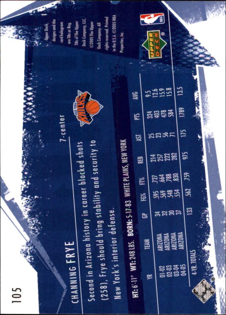 2005-06 Upper Deck Slam #105 Channing Frye RC back image