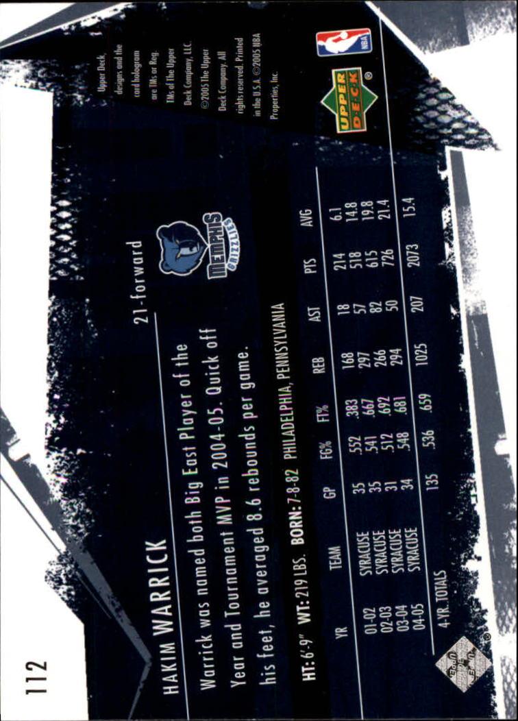 2005-06 Upper Deck Slam #112 Hakim Warrick RC back image
