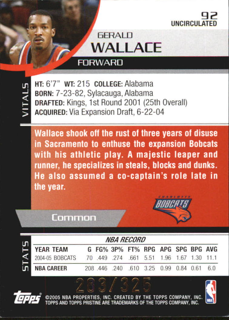 2005-06 Topps Pristine Uncirculated #92 Gerald Wallace back image