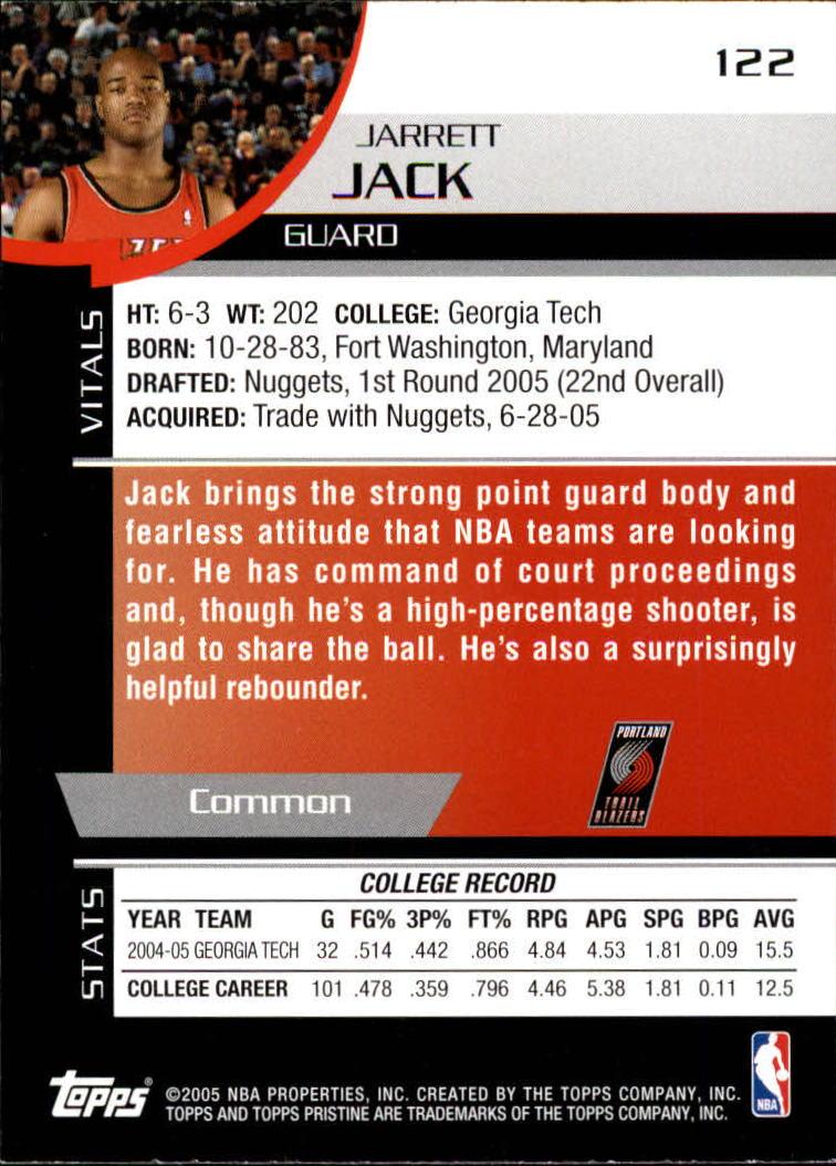 2005-06 Topps Pristine #122 Jarrett Jack RC back image