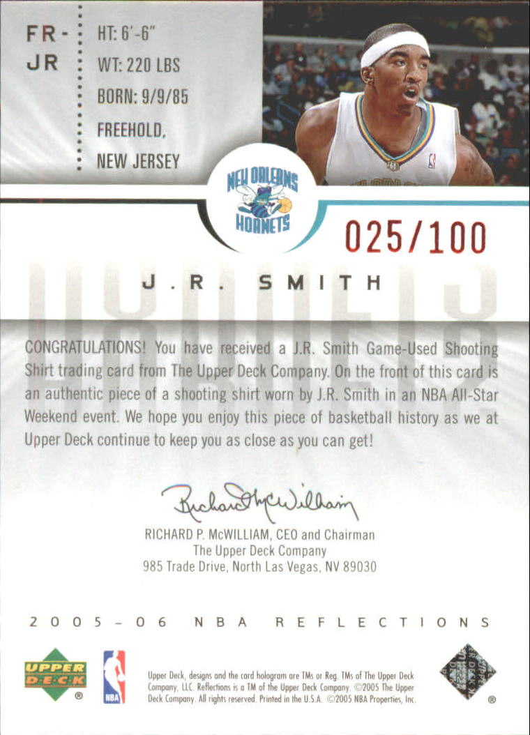 2005-06 Reflections Fabrics Red #JR J.R. Smith back image