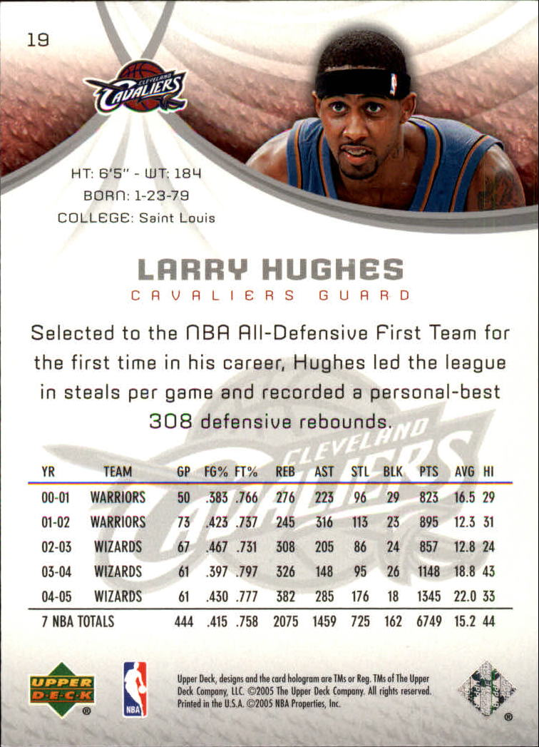 2005-06 SP Game Used #19 Larry Hughes back image