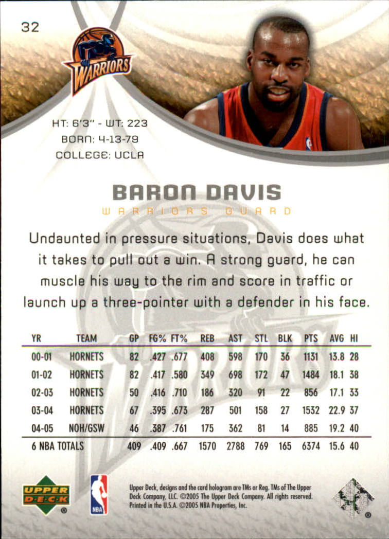 2005-06 SP Game Used #32 Baron Davis back image