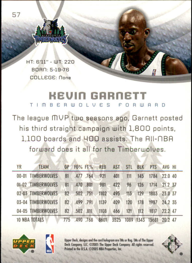 2005-06 SP Game Used #57 Kevin Garnett back image
