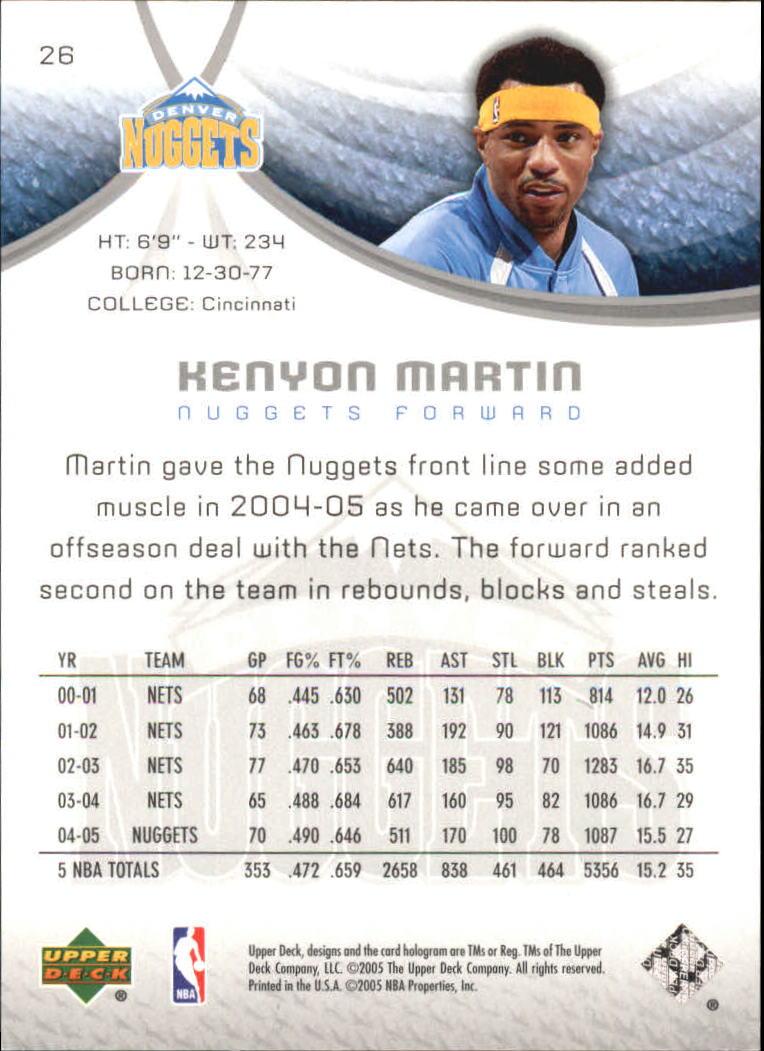 2005-06 SP Game Used 10 #26 Kenyon Martin back image