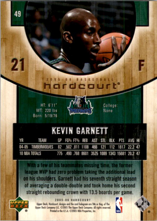 2005-06 Upper Deck Hardcourt #49 Kevin Garnett back image