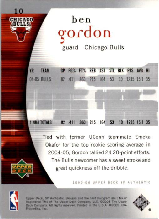 2005-06 SP Authentic #10 Ben Gordon back image