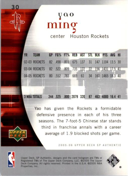 2005-06 SP Authentic #30 Yao Ming back image