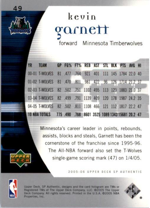 2005-06 SP Authentic #49 Kevin Garnett back image