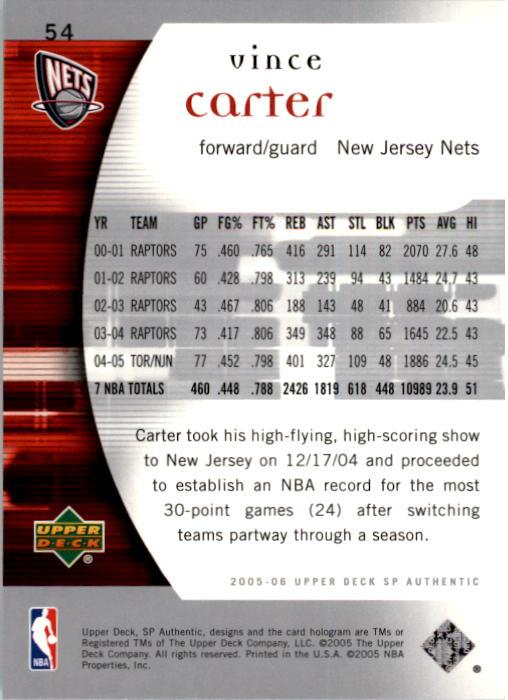 2005-06 SP Authentic #54 Vince Carter back image