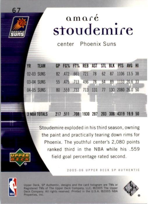 2005-06 SP Authentic #67 Amare Stoudemire back image