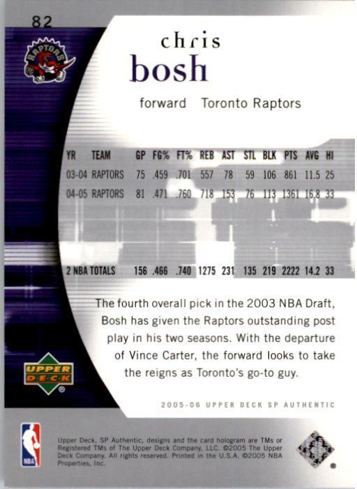 2005-06 SP Authentic #82 Chris Bosh back image