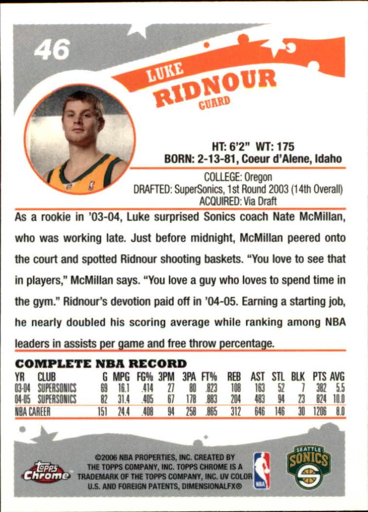 2005-06 Topps Chrome #46 Luke Ridnour back image