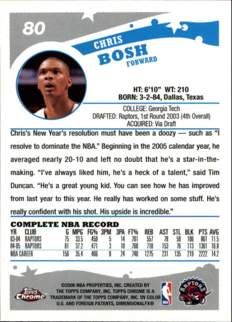 2005-06 Topps Chrome #80 Chris Bosh back image