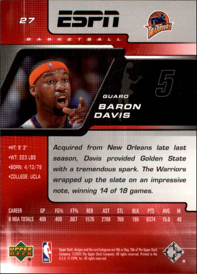 2005-06 Upper Deck ESPN #27 Baron Davis back image