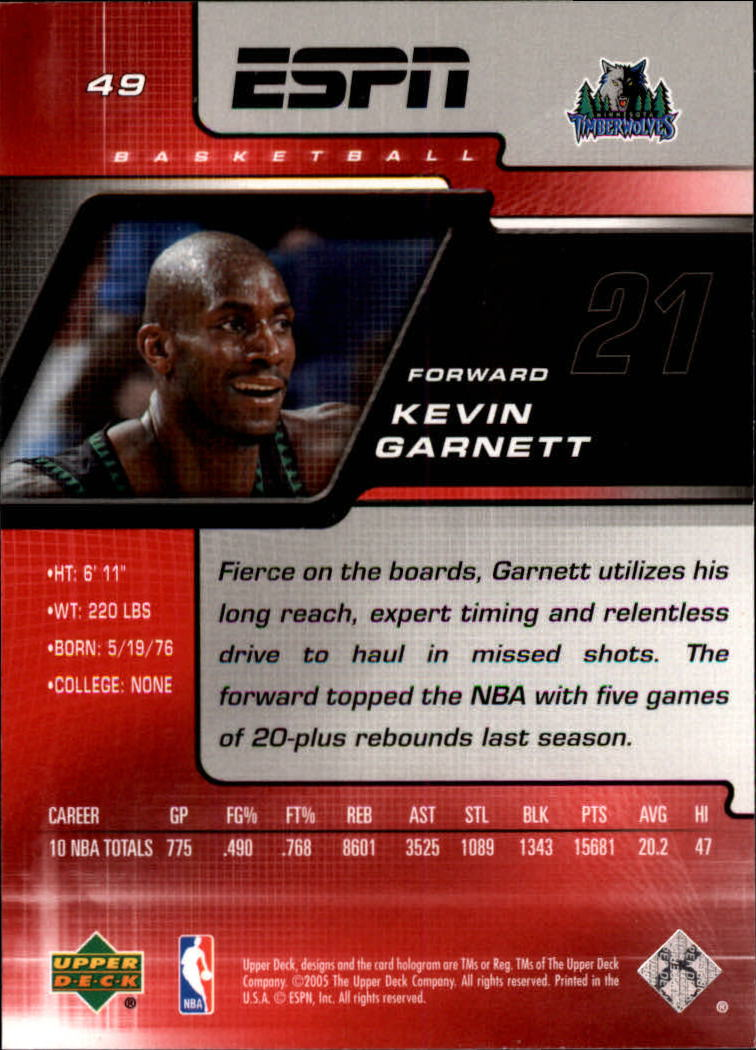 2005-06 Upper Deck ESPN #49 Kevin Garnett back image